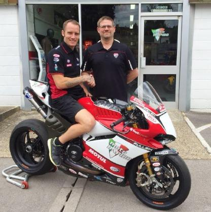 Tommy Bridewell is welcomed by Moto Rapido Ducati team owner Steve Moore. Picture: @OfficialBSB