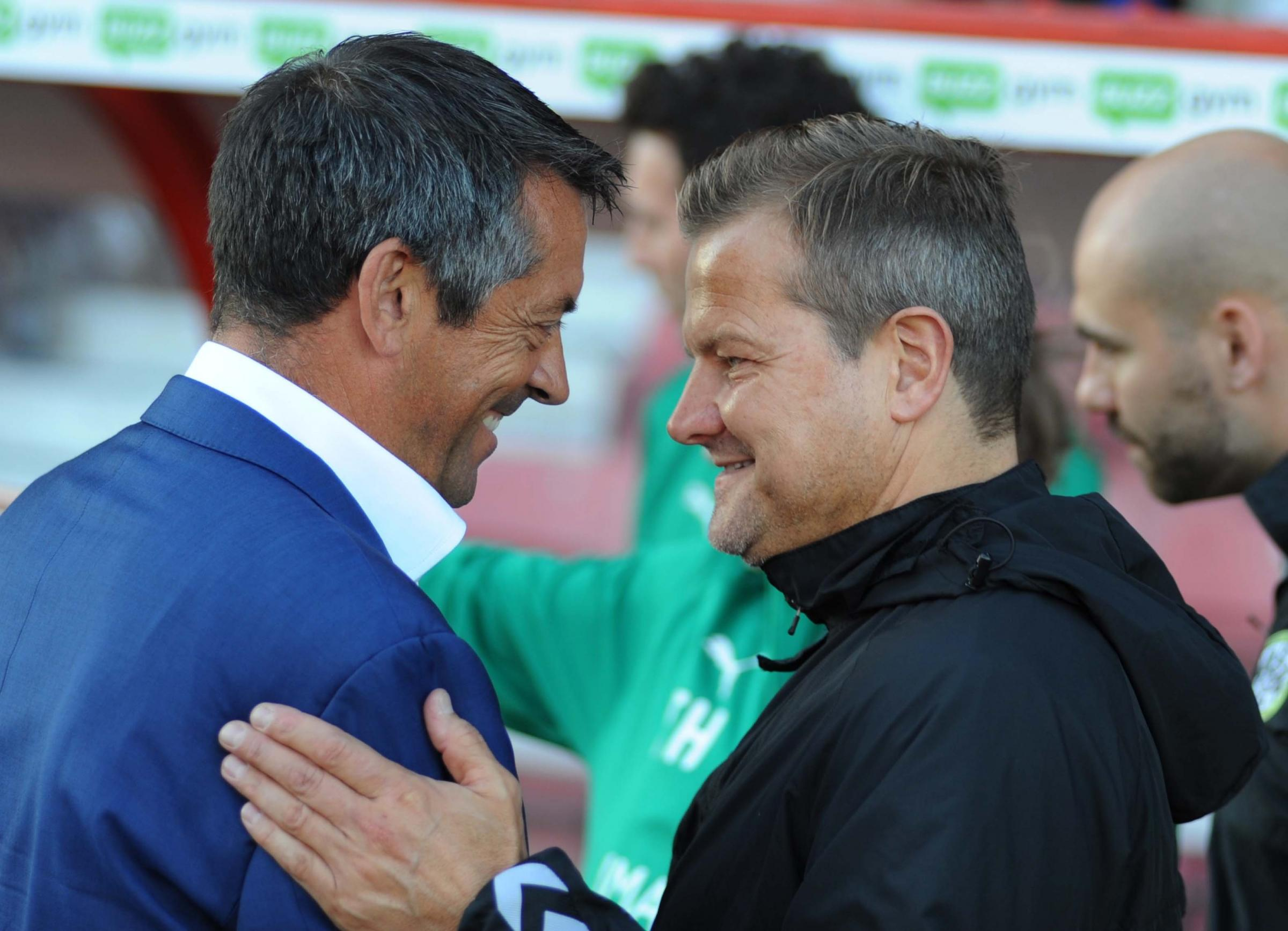 STFC v Forest Green   Pic Dave Evans     14.8.18.Rival bosses Phil Brown and Mark Cooper..