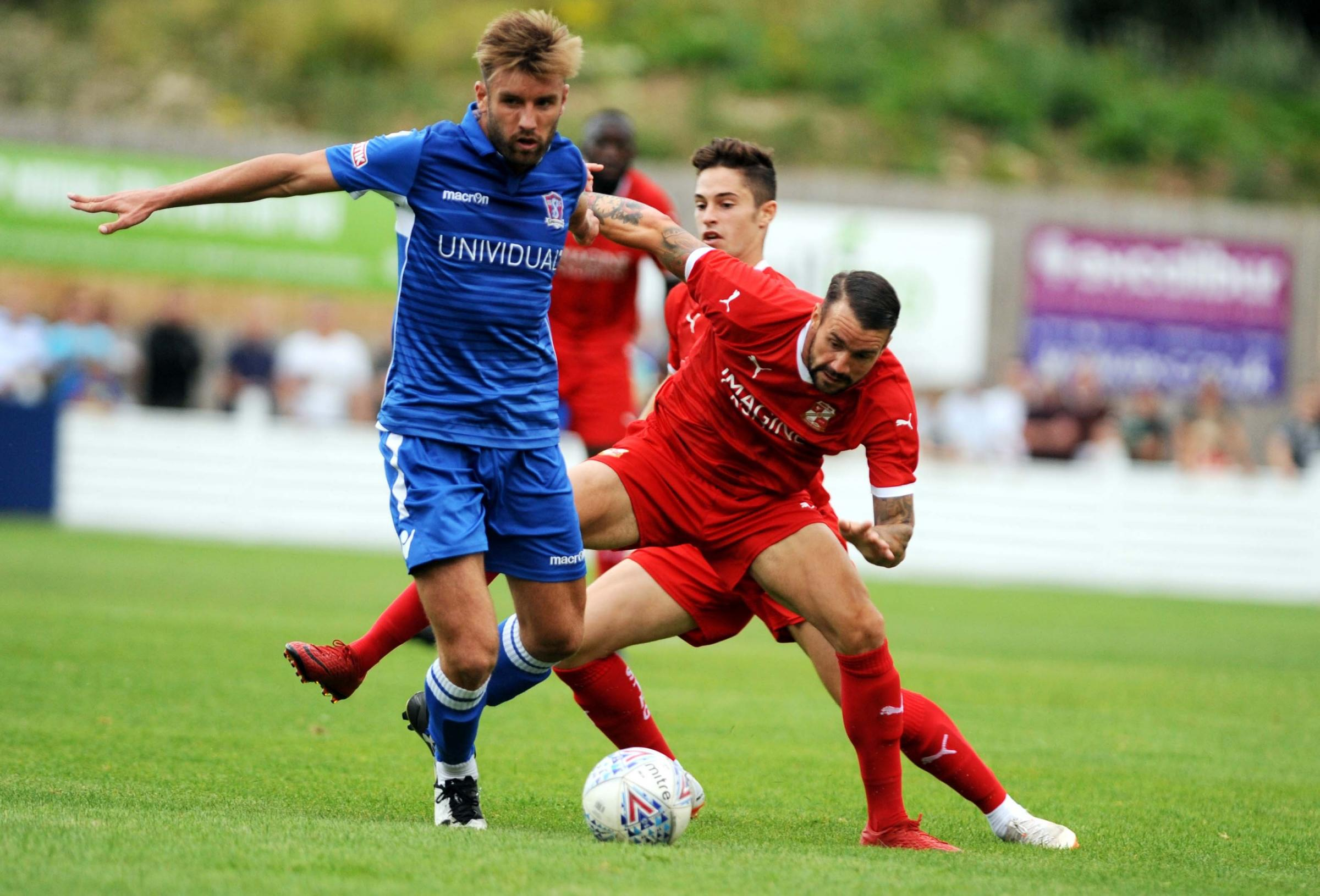 Town's James Dunne in action during Town's summer friendly against Swindon Supermarine