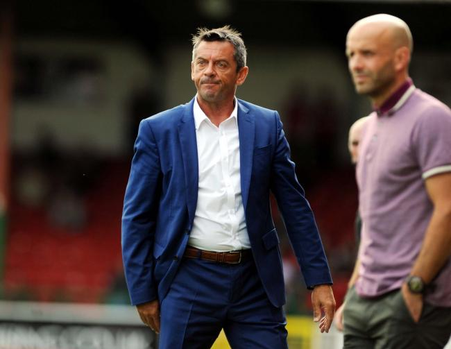 Swindon Town v MK Dons    Pic Dave Evans    01.09.2018.An animated Phil Brown beside a more calm rival boss Paul Tisdale..