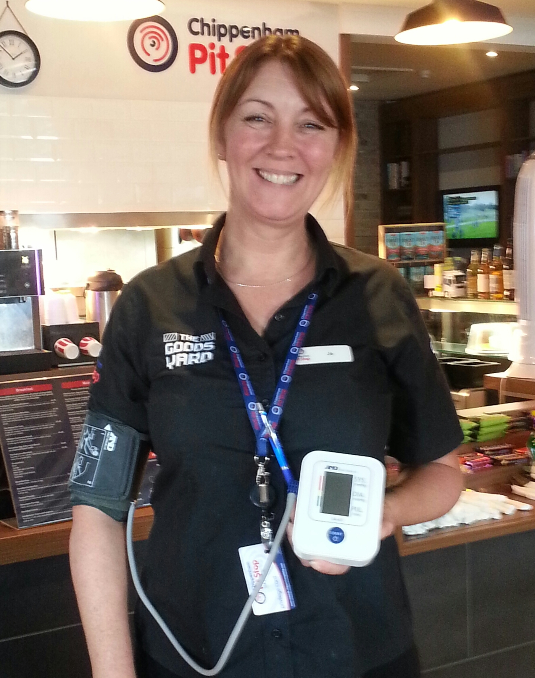 Chippenham Pit Stop retail team member Jo Burton taking her blood pressure
