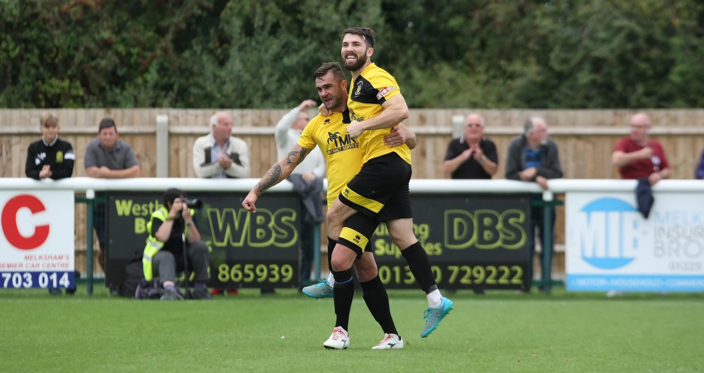 Andy Sandell celebrates his goal for Melksham Town during the 2-2 draw with Bristol Manor Farm. Picture: ROBIN FOSTER