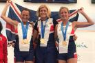 Fiona Price on the podium (far right) with her GB teammates
