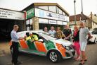 Director of Cyril H Thomas Keith Thomas hands the keys over to first responder Garry Jones watched by  Cliff Thomas, Tony Matthew of WEC, Rotary President Sue Peskett, Simon Barnfather of Ambulance Trust and Jacqui and Robbie Howe               Photo: Tre