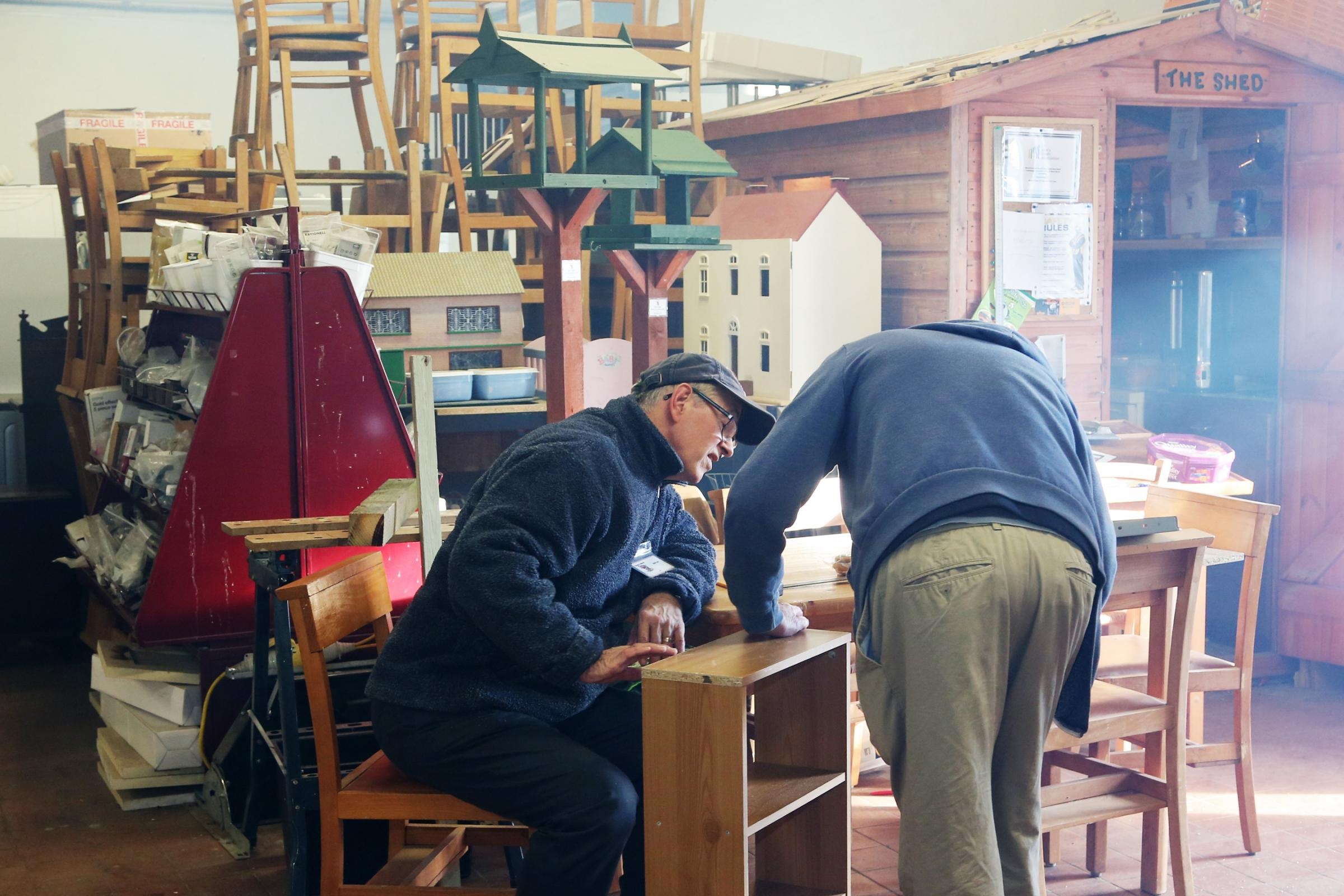 Calne Men's Shed members at work