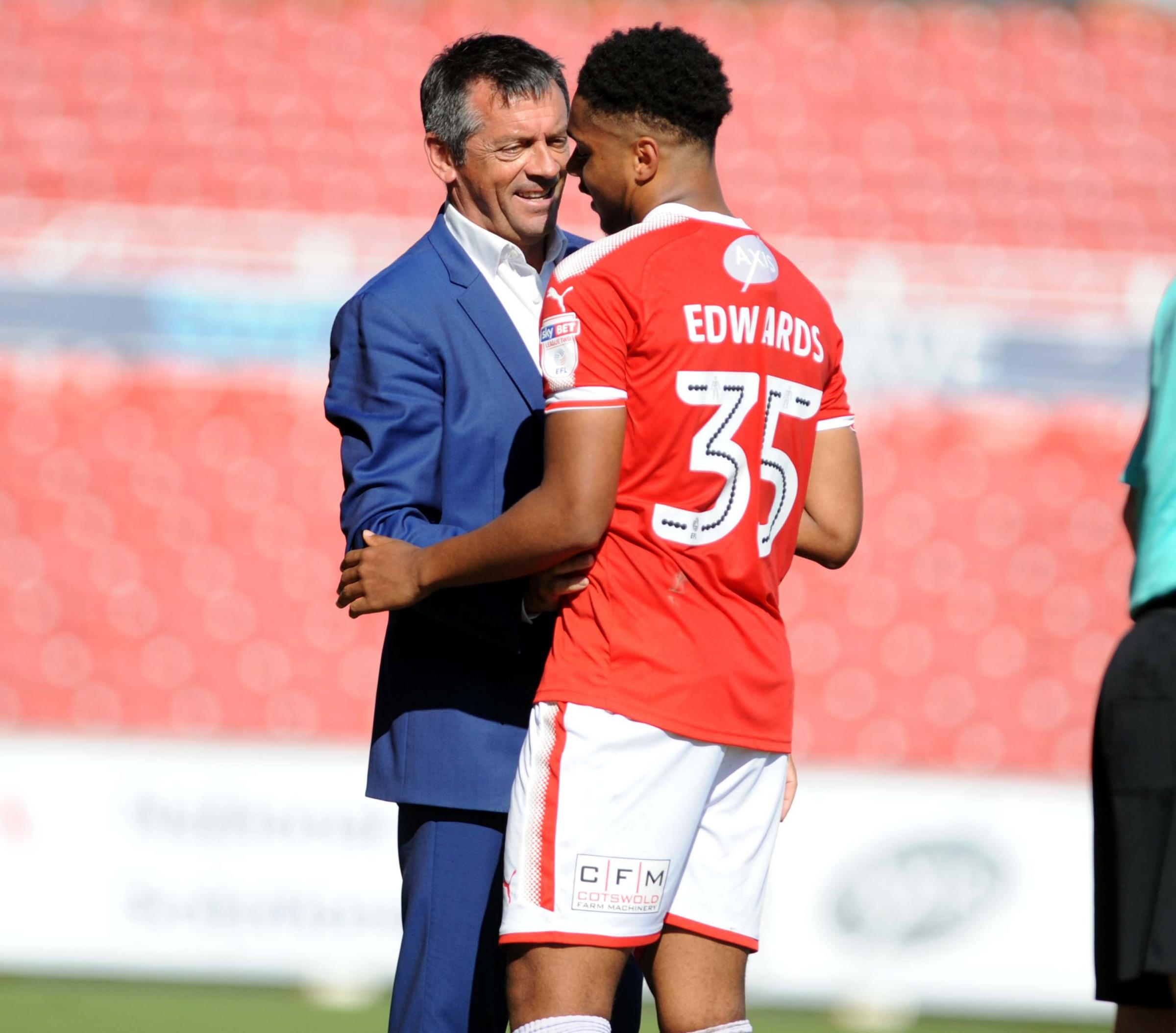 STFC v Accrington Stanley      Pic Dave Evans      5.5.18.Debut boy Jordan Edwards is congratulated by boss Phil Brown after being substituted..