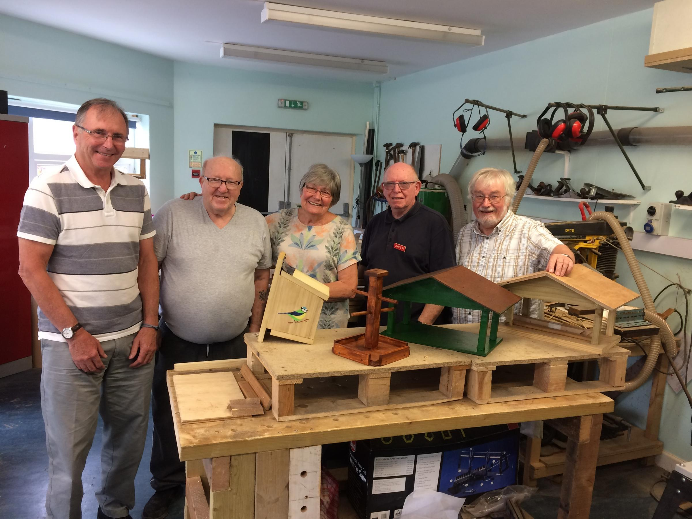 Memory Shed members with their bird boxes