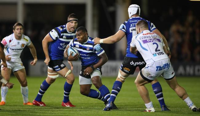 Semesa Rokoduguni runs at Exeter Chiefs back line during last week's Premiership tie at The Recreation Ground.