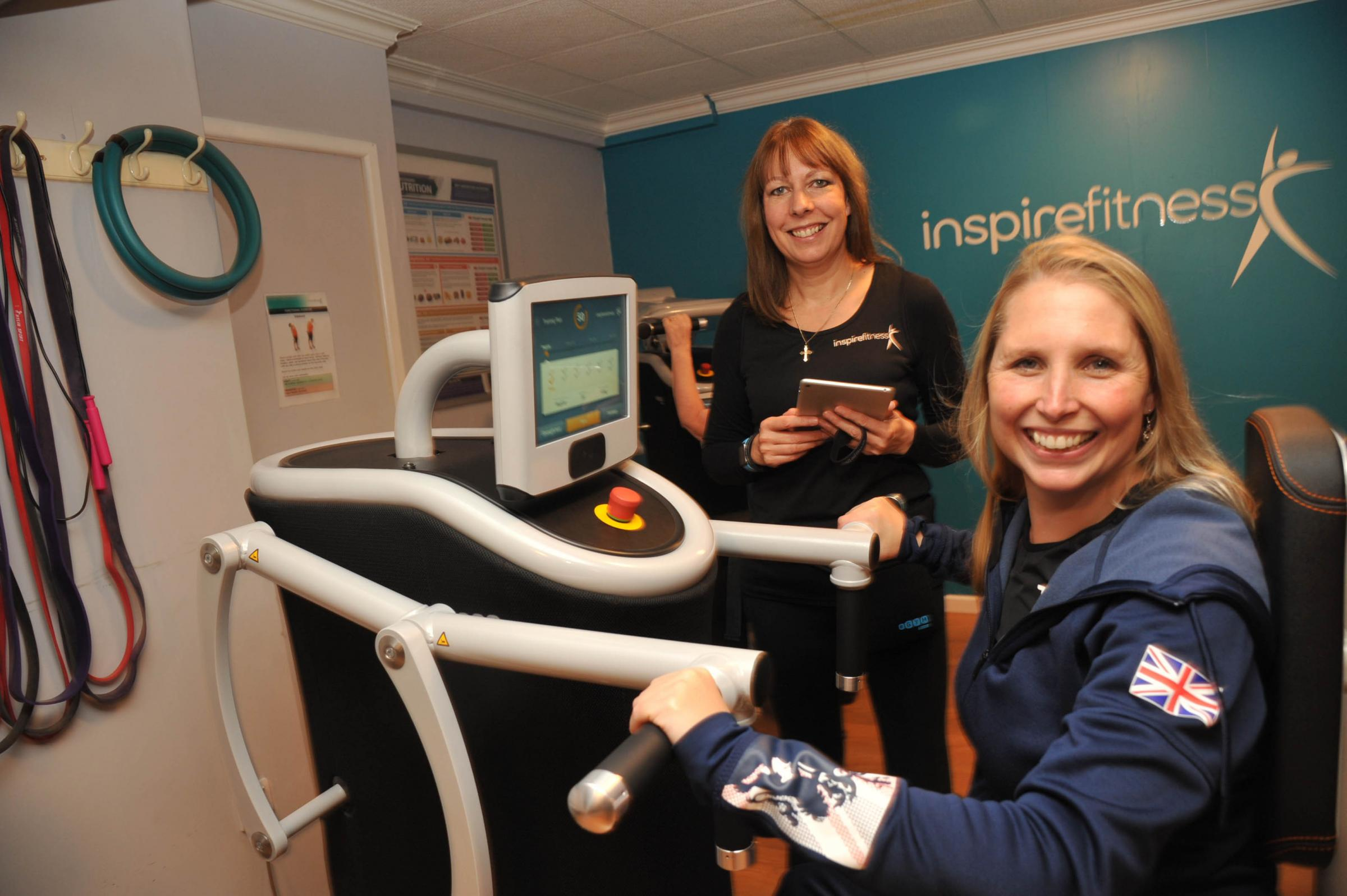 Paralympic swimmer Stephanie Millward and owner Ruth Green at the opening of the new gym equipment. Photo Trevor Porter 59928 2.