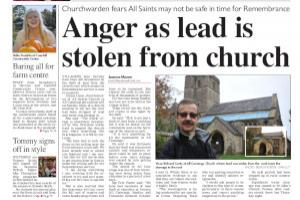 Villagers up in arms over theft of lead from their church roof. Read more stories like this here...