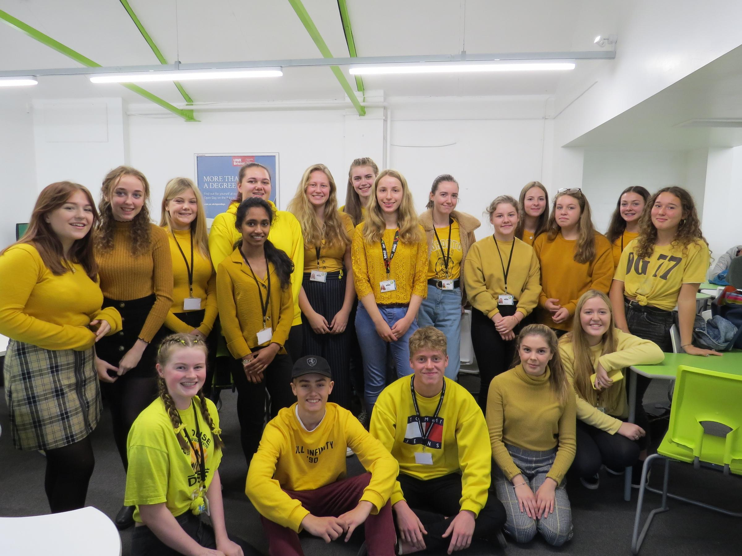 Sixth Form students from Hardenhuish School wearing yellow in celebration of World Mental Health Day