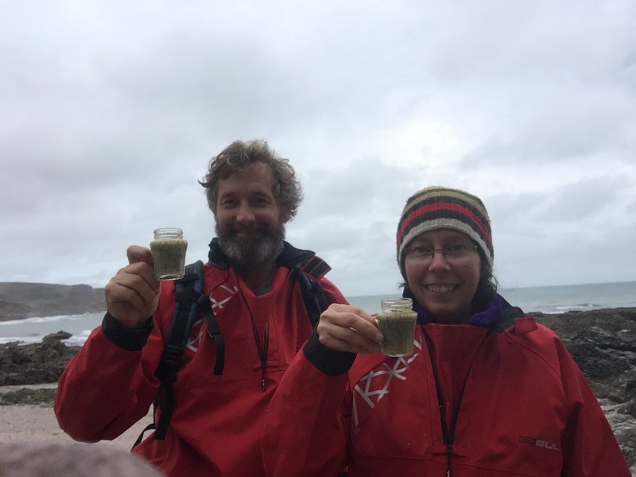 Tim Buckley and Kate Tullberg toast seaweed