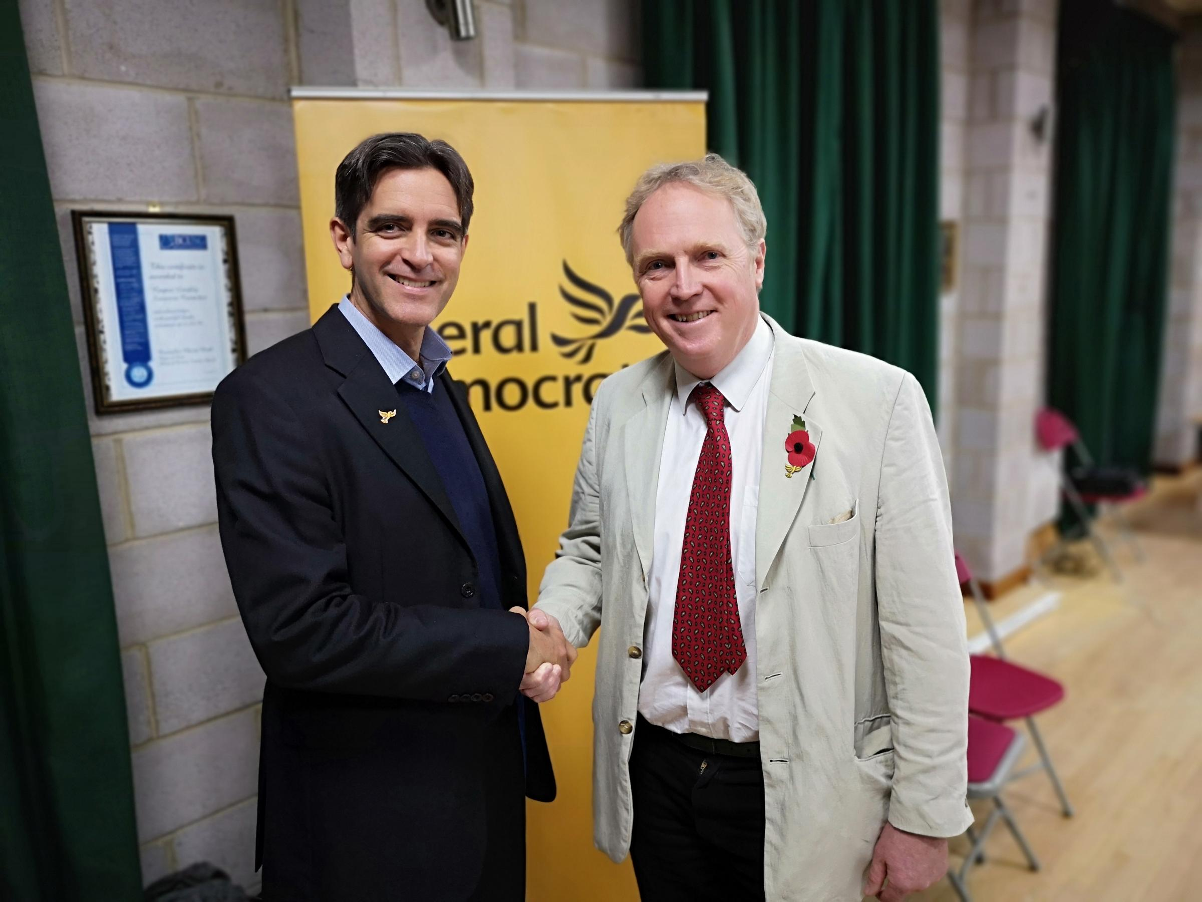 New Liberal Democrat prospective parliamentary candidate Brian Mathew (right) with North Wiltshire Liberal Democrats chair, Matt Bragg