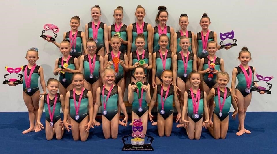 Members of the Wiltshire School of Gymnastics with their prizes