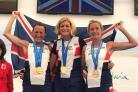 Wiltshire's Fiona Price (right) on duty for Great Britain at the World Masters half marathon