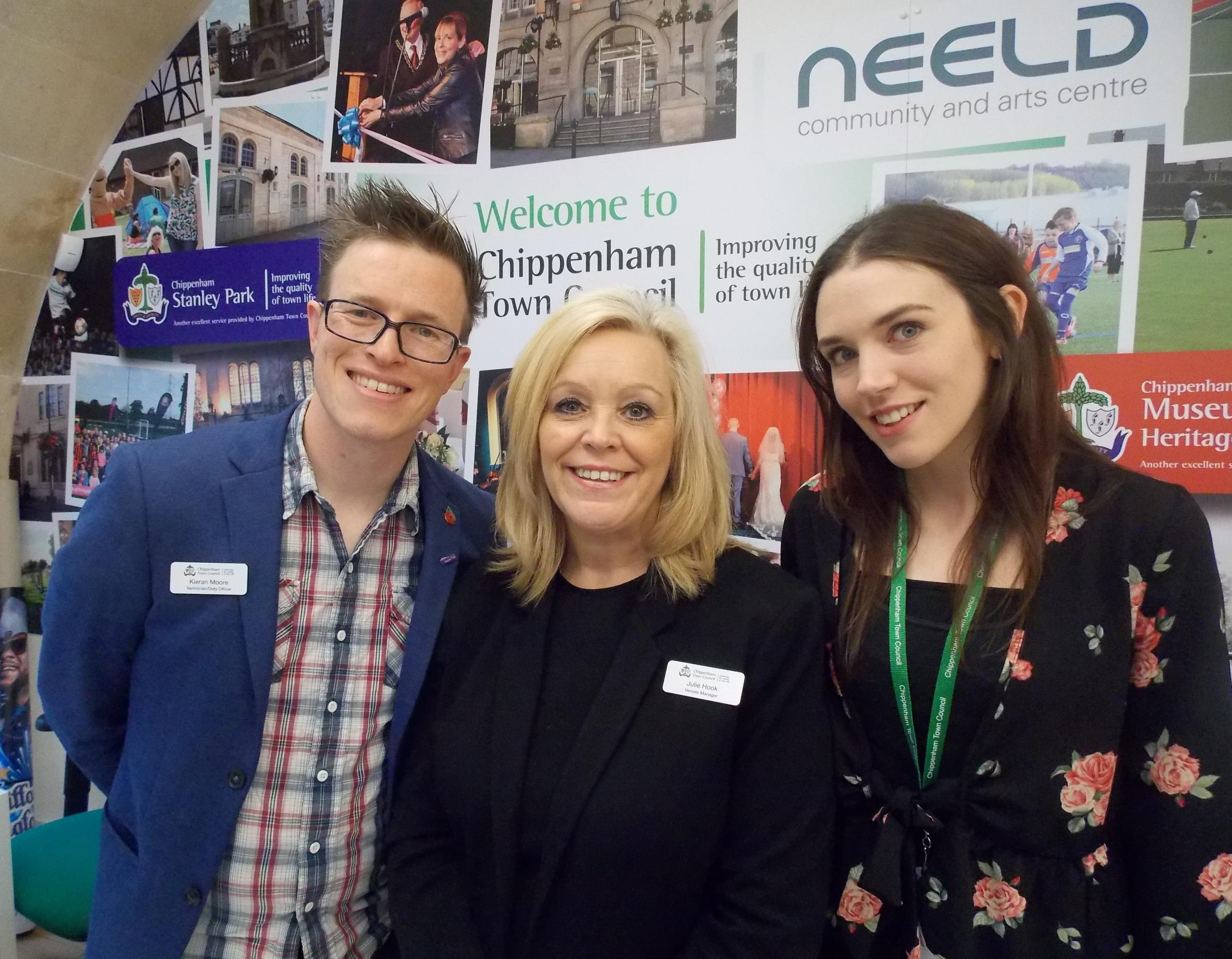 Venues bookings co-ordinator Helen Bywater, venues manager Julie Hook and technician Kieran Moore