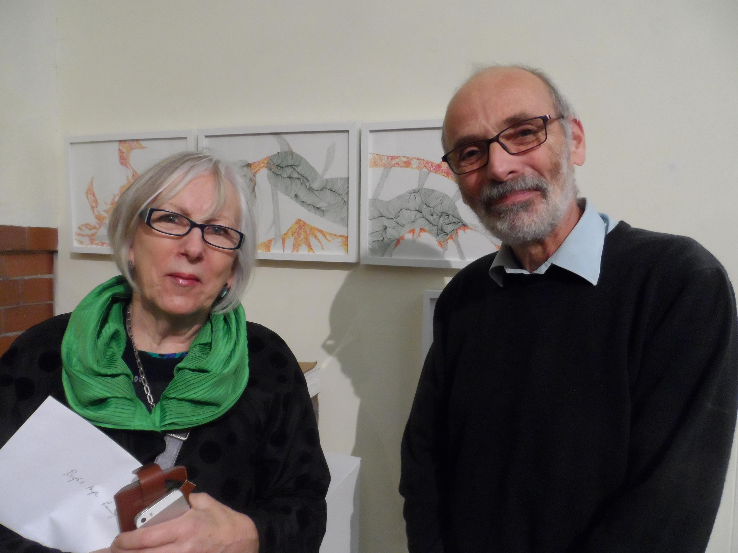 Local artist Anne Martin Pyne with exhibition sponsor Steve Hible