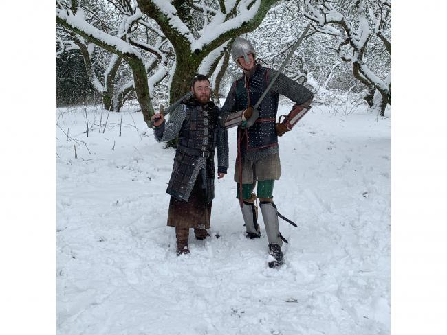 Two knights in the snow in Devizes