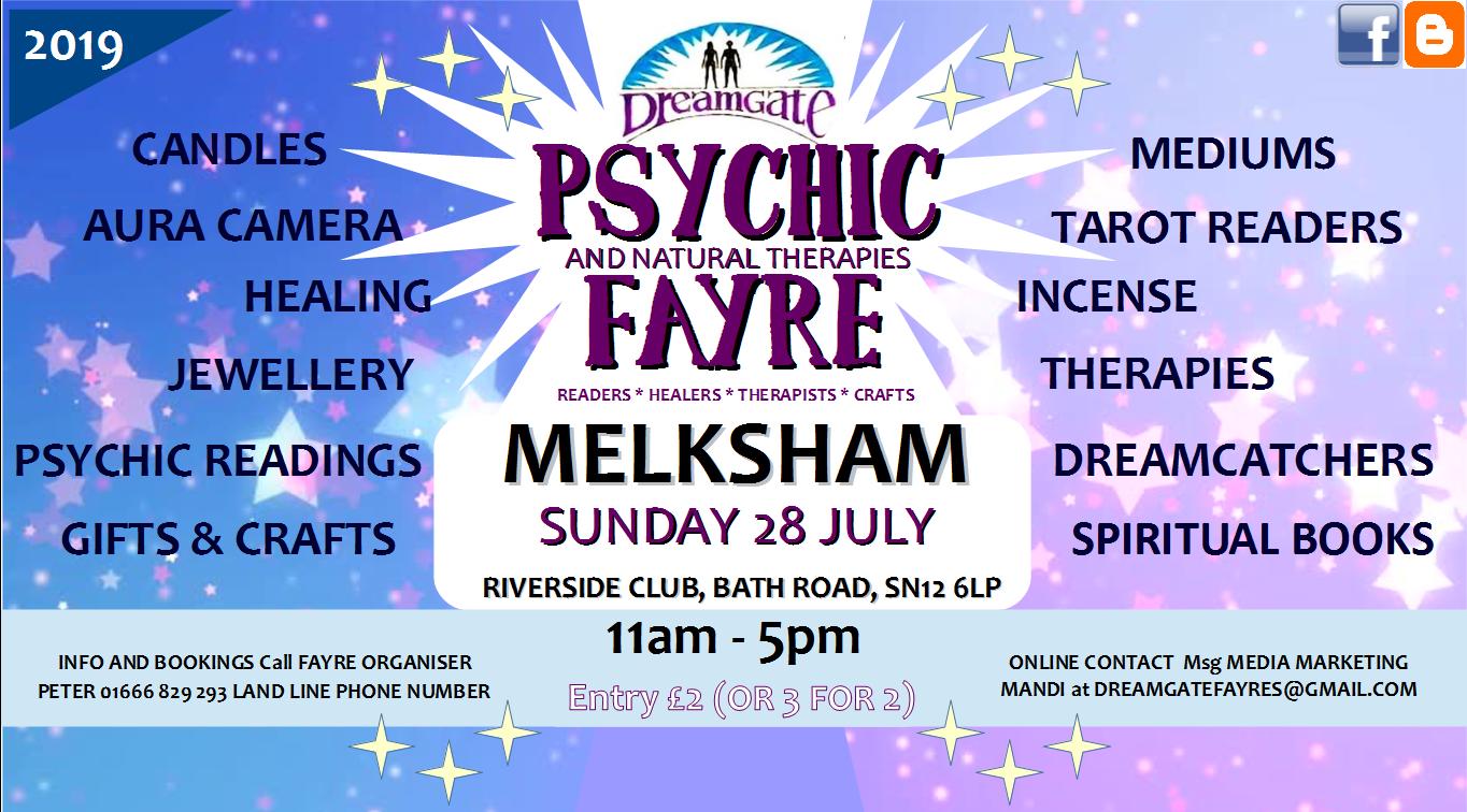 Dreamgate Psychic Fayre Melksham on 28 July at 11:00