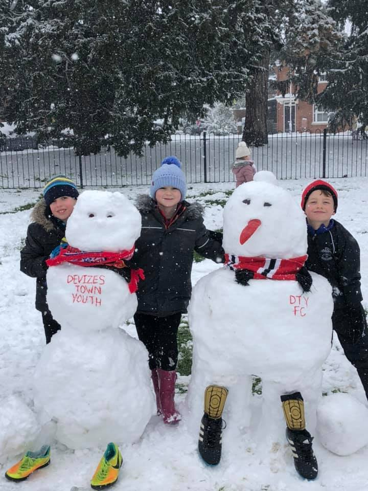 Finlay and Callum won a snoman contest run by Devizes Town Youth when practice was cancelled