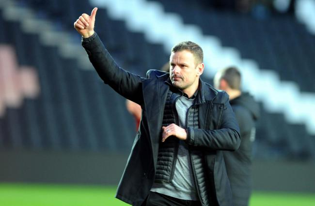 Richie Wellens praises the Swindon Town fans after the full-time whistle in the win over Milton Keynes Dons. PICTURE: DAVE EVANS