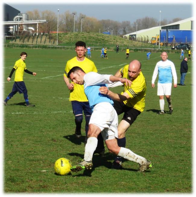 Action from the clash between AFC Melksham and FC Bradford in the Chippenham & District Sunday League at the weekend. PICTURE: CADER ESOOF