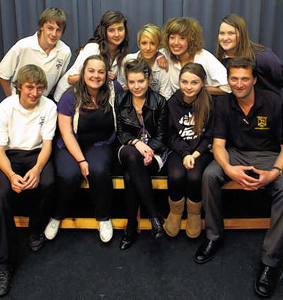 Students meet Aimee Ffion Edwards, third left, and Jessica Bardon, fourth left. Pewsey Vale head of drama John Hobbs is on the right