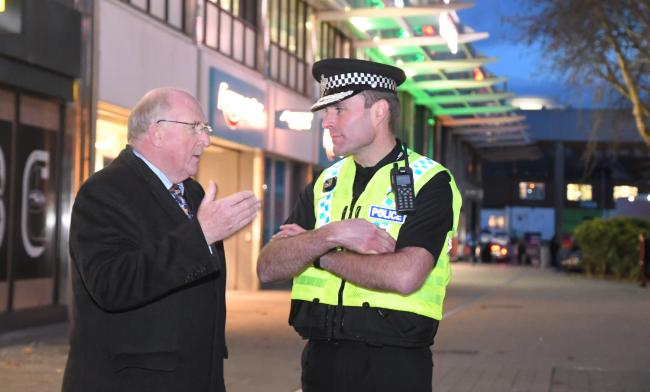 ©Calyx Picture Agency .Kier Pritchard Wiltshire Chief Constable in Swindon Town Centre with Police and Crime Commissioner Angus Macpherson.