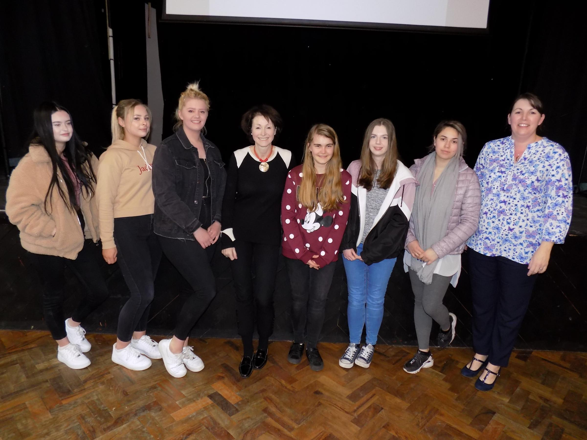 Dr Tracy Long with sixth formers at Devizes School