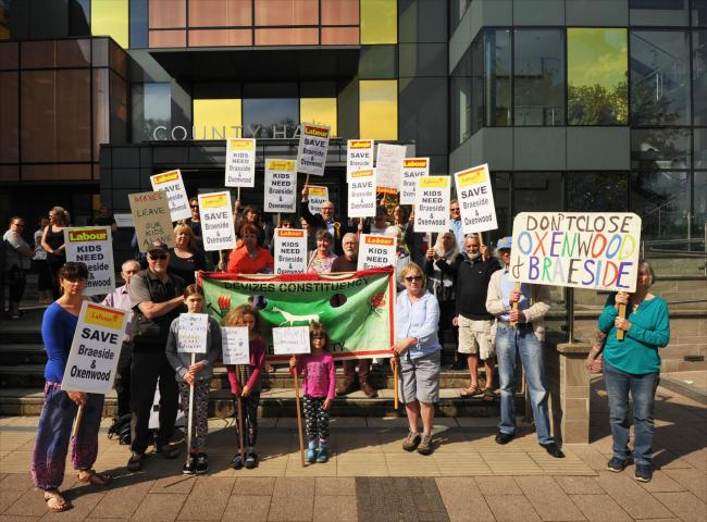 Braeside protest County Hall. Campaigners against the closure of Braeside and Oxenwood protest at County Hall Trowbridge.Pic T Porter 59583 1