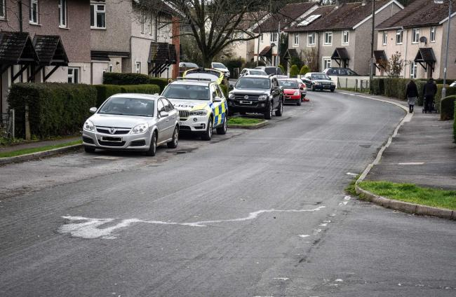 Scene of accident involving cyclist at Hill Rise, Chippenham on Tuesday.