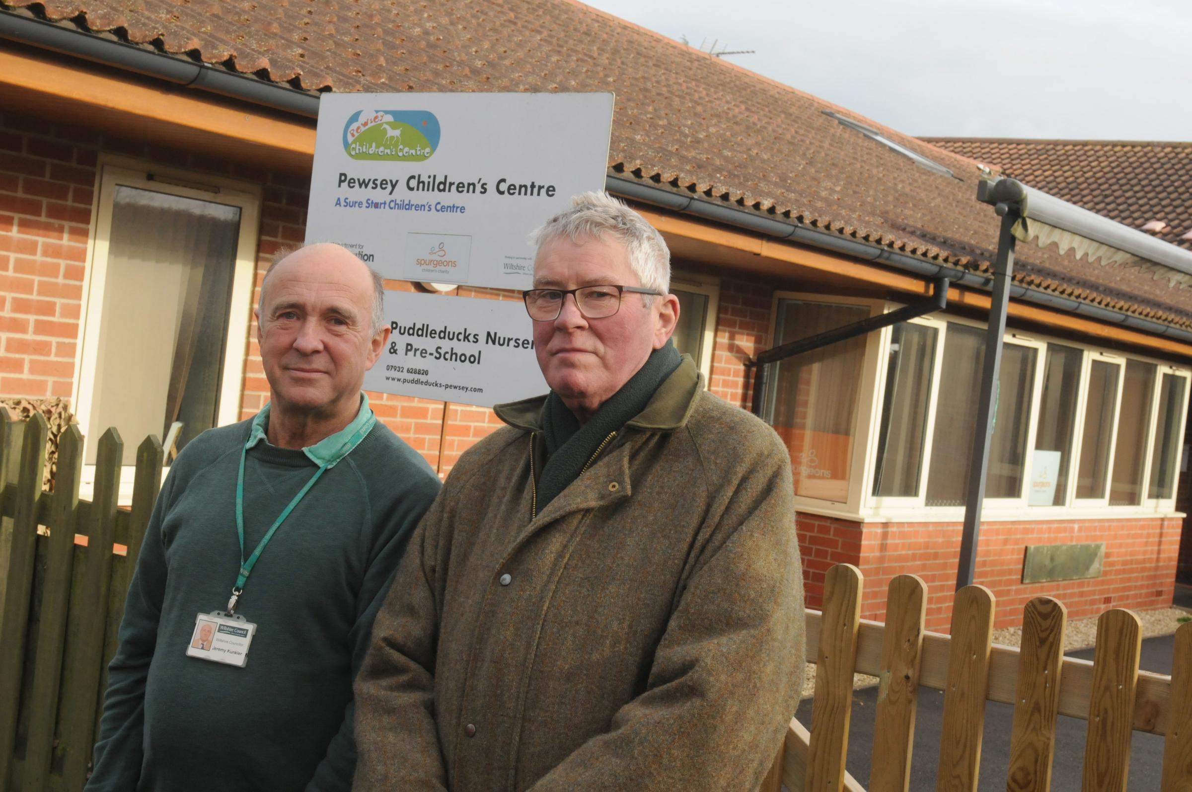L-r Jerry Kunkler and Curly Haskell outside Pewsey Children's Centre.  Photo: Si3bhan Boyle SMB2698/3.