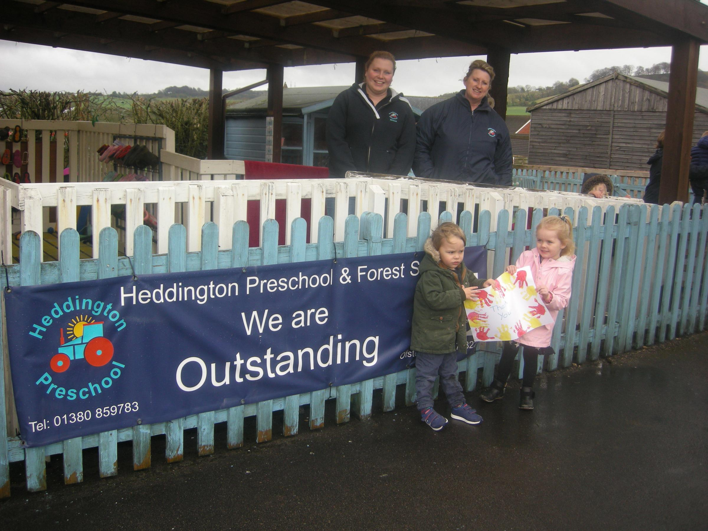 The preschool received a cheque for £1,000