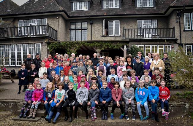 Children from Powells Primary School enjoying a stay at Braeside  education centre on Tuesday joined by Campaigners to keep the  centre open including Devizes mayor Nigel Carter  and local councillors.  Photo by www.gphillipsphotography.com GP1280.