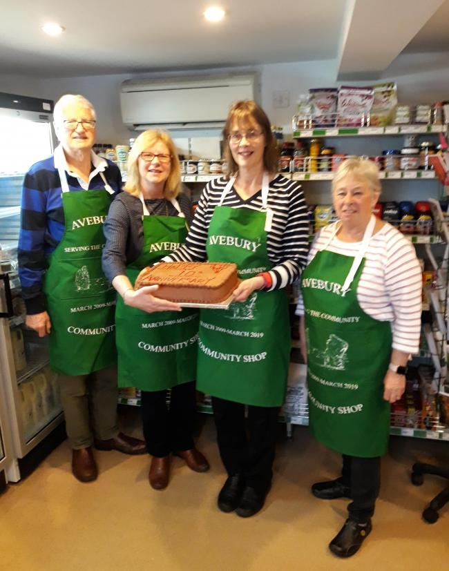 Fro left, Avebury Community Shop's Simon Petchey, Lyn Saunders, Michele Lomas and Jill Petchey