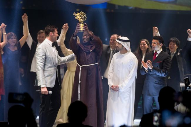 Peter Tabichi, a maths and physics teacher from Kenya, after he was awarded the Varkey Foundation Global Teacher Prize at a ceremony in Dubai hosted by Hollywood star Hugh Jackman