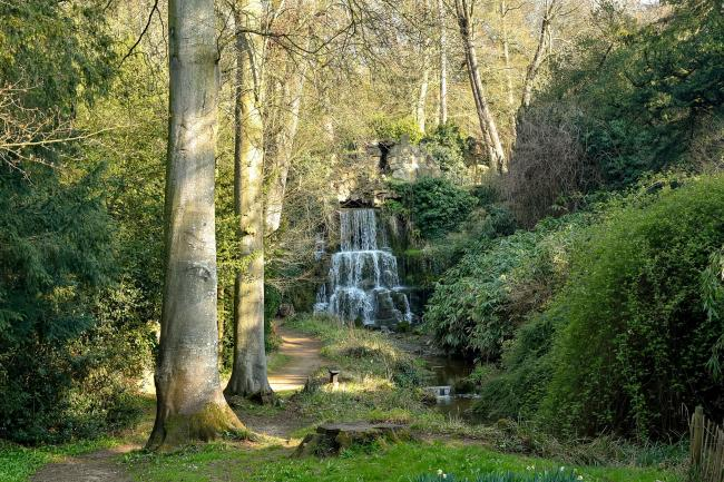 Pictured is the cascade in the grounds during early spring from a press photocall today.  Credit: www.dianevosephotography.co.uk..Bowood House and Gardens, Wiltshire, UK. 28th March 2019. Bowood House and Gardens in Wiltshire reopens for the new season on