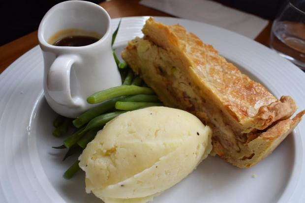 Chicken, leek and pancetta shortcrust pie with mash, beans and gravy at the Gladstone Arms