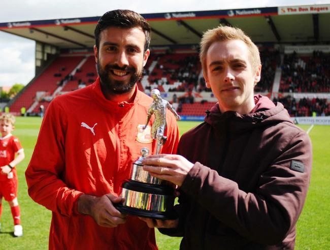 STFC v Notts County     Pic Dave Evans     4/5/2019.The Advertiser's Player of the Year Michael Doughty receives the trophy from Jonny Leighfield..