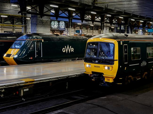 Great Western Railway trains in the their new livery at Paddington Station.
