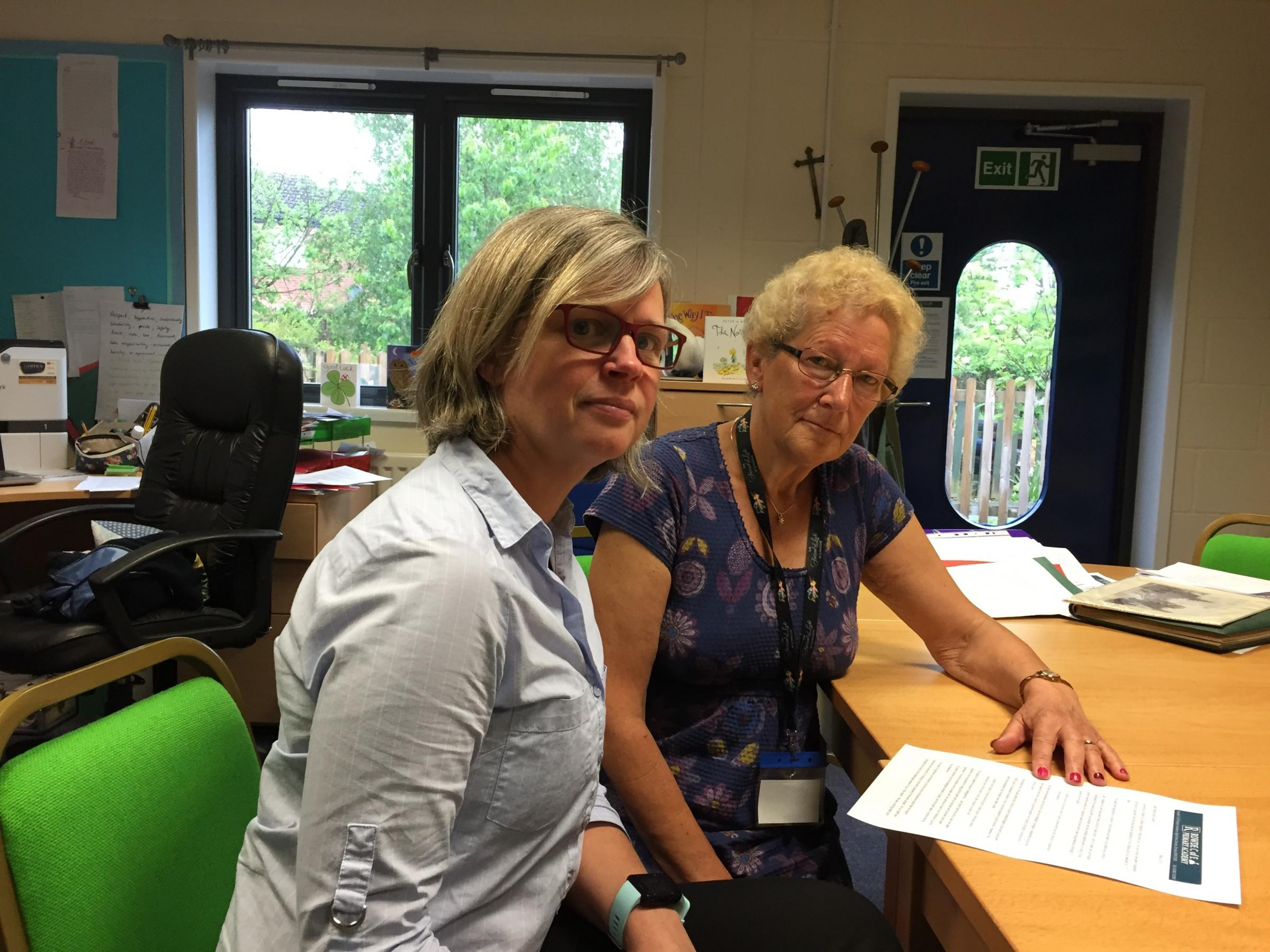 Head Sue Hulford and chairman of governors Jackie Bawden at Rowde primary