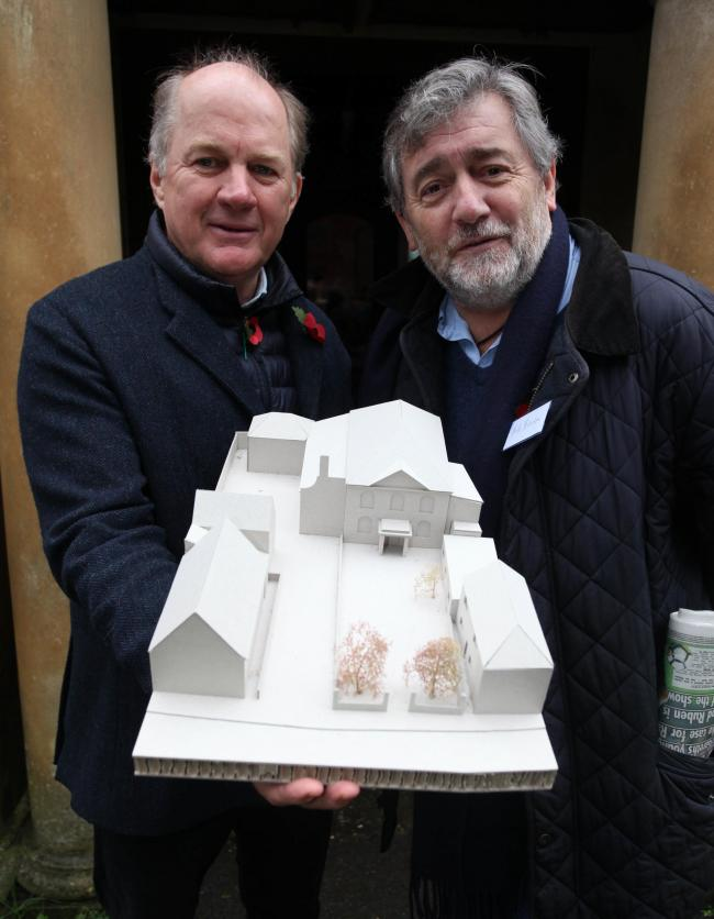 Orlando Harris and Bob Benton holding the model. Photo: Vicky Scipio VS2668/1..New plans for a cinema in Marlborough held at Former Methodist Chapel. November 2017.