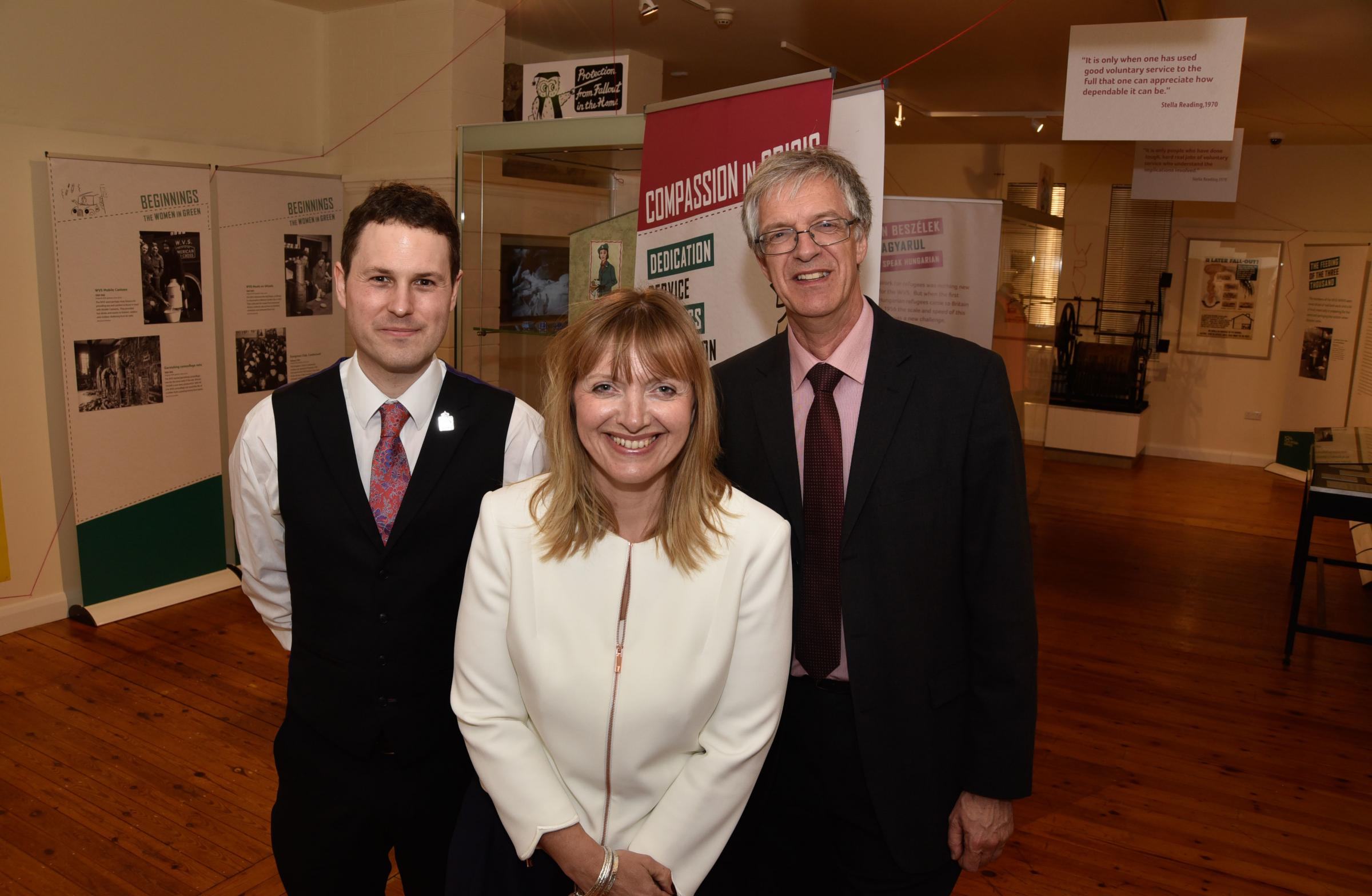 RVS CEO Catherine Johnstone , archivist Matthew McMurray (left) and David Dawson, director wiltshire Museum at Royal Voluntary Service anniversary exhibition aWiltshire Museum, Devizes 16/05/18 ..Photo by Glenn Phillips www.gphillipsphotography.com for Ro