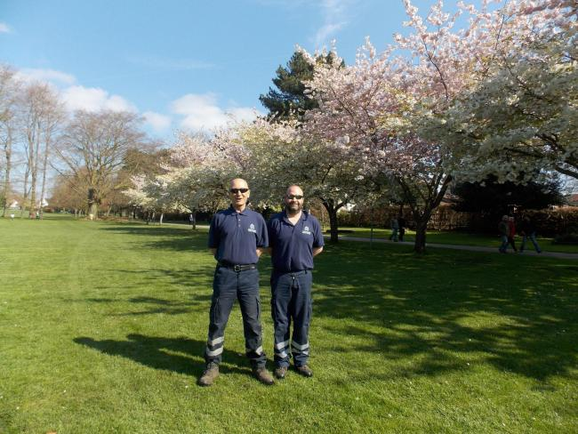 John Coles Park ground worker Bob Simmons, left, and Chippenham Town Council Head of Environmental Services Will Tidmarsh