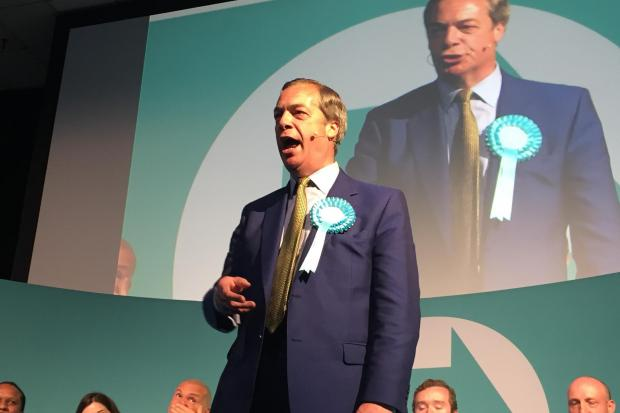 The Wiltshire Gazette and Herald: Brexit Party leader Nigel Farage speaks at the Corn Exchange, Edinburgh
