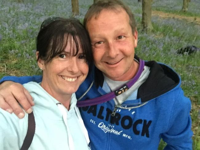 Karen Stovald with her partner Stuart Neathey, who died last year