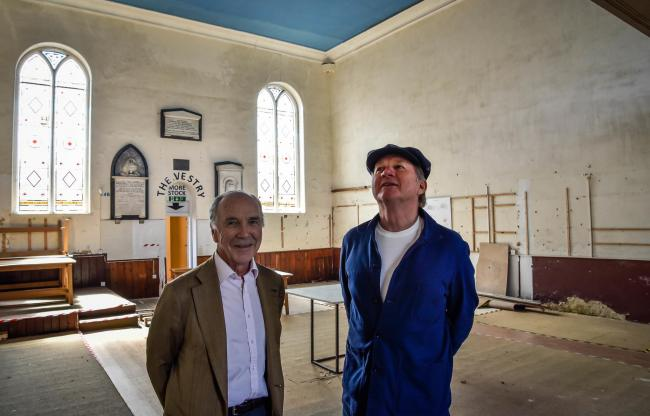 Robert Hiscox (left) and Orlando Harris have plans to turn The  Old Chapel in The Parade, Marlborough into a cinema..Photo by www.gphillipsphotography.com GP1674.
