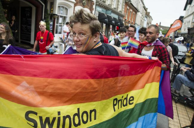 Pic - gv.Date 29/7/17.Pic by Dave Cox.Swindon Pride parade from Town Gardens...