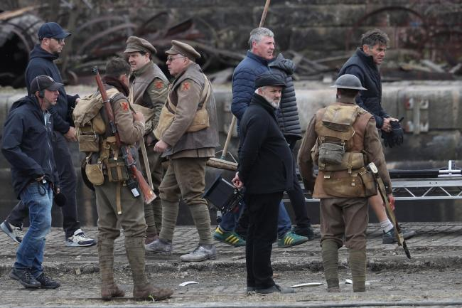 Sam Mendes Films In Glasgow With Mark Strong And George Mackay After