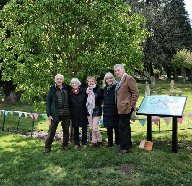 Donald Sherlock, Chairman of the North Wessex Downs Landscape Trust unveiled the board in front of a gathering which included Reverend Roger Powell and John Hetherington, Chairman of the Parish Council, together with history group members, church congrega